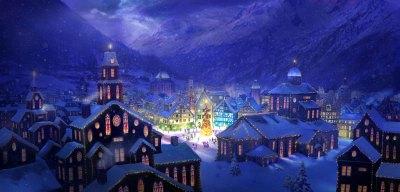 Коледа в града през нощта