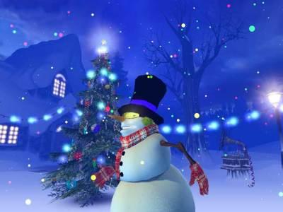 Зимна нощ снежен човек